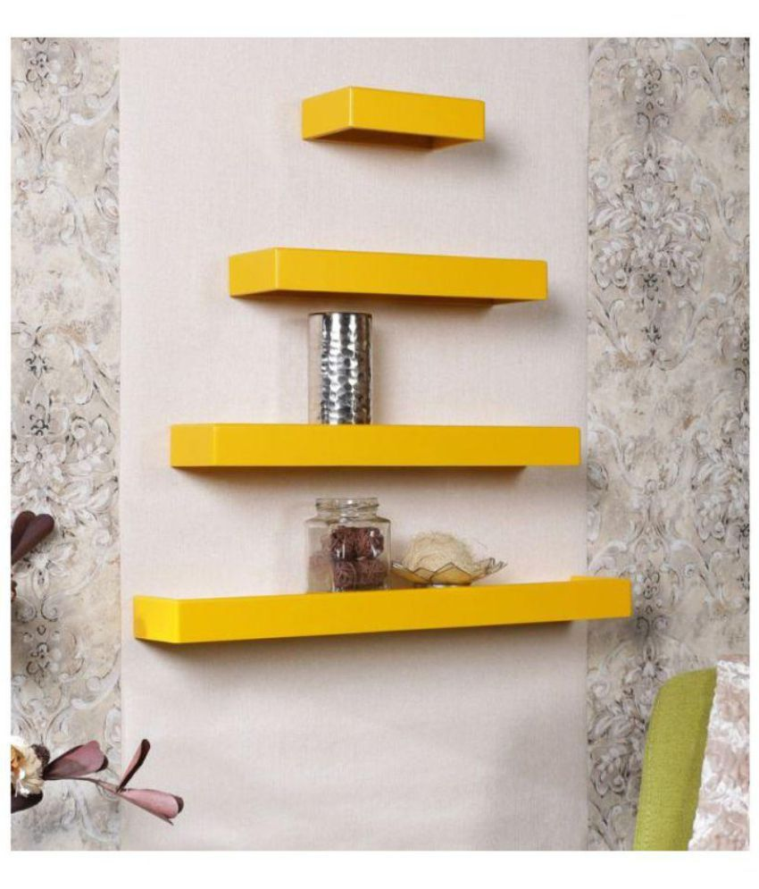 Yellow Floating Shelves - 3d House Drawing •