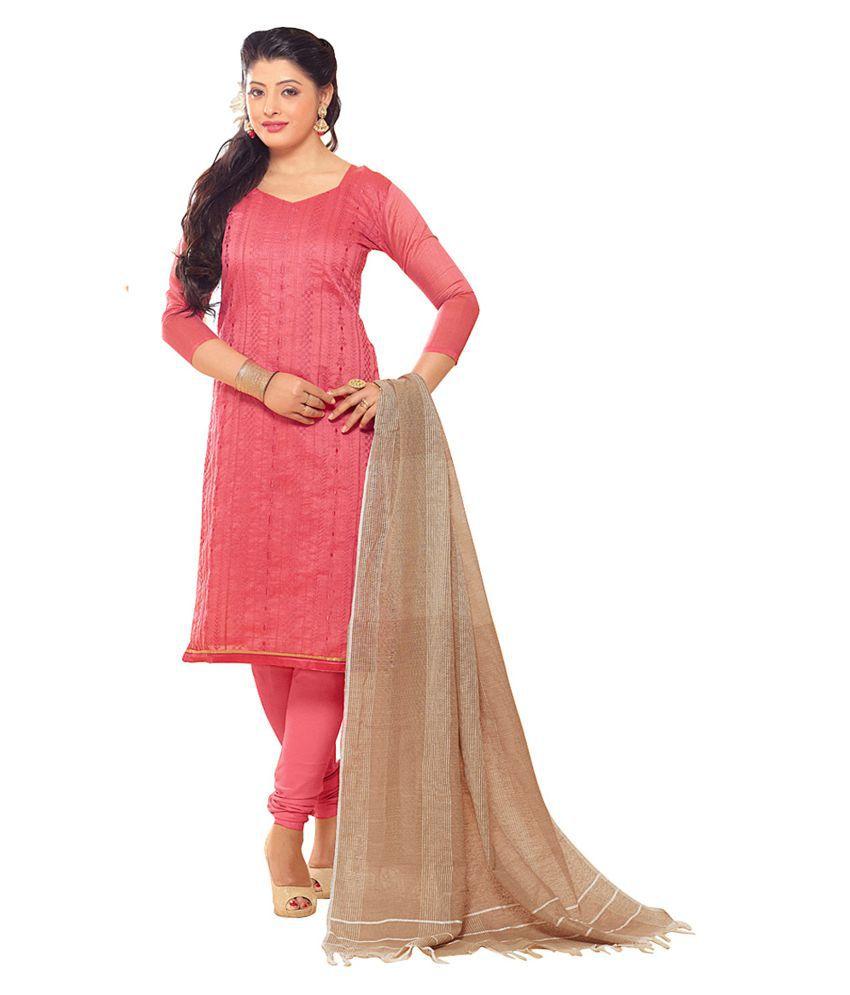 Aasvaa Pink Chanderi Dress Material