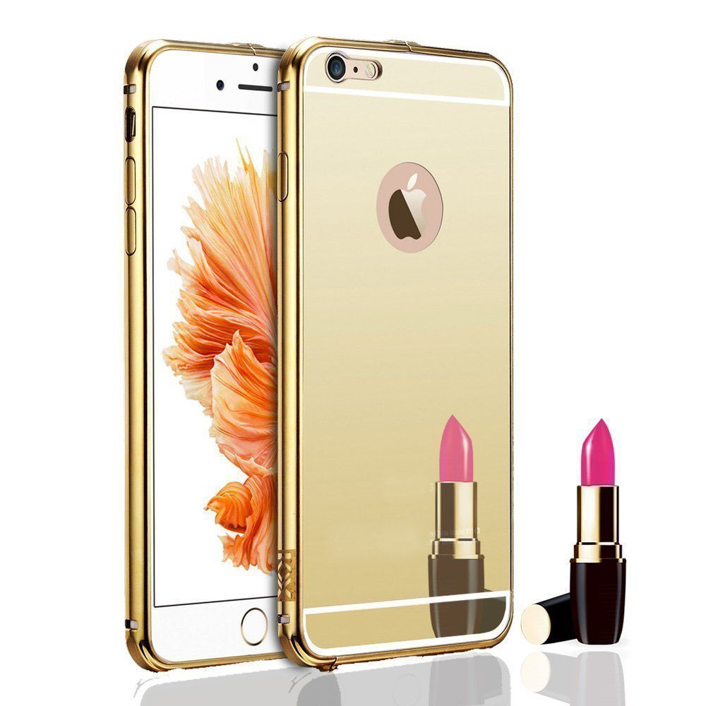 Style Crome Luxury Metal Bumper + Acrylic Mirror Back Cover Case For Apple iPhone 6 + Mini Aux wired Selfie Stick.