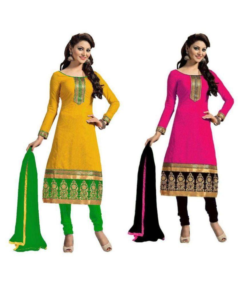 VR Fashion Multicoloured Cotton Dress Material