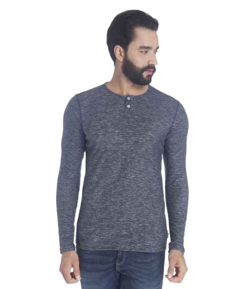 Jack & Jones Grey Henley T-Shirt