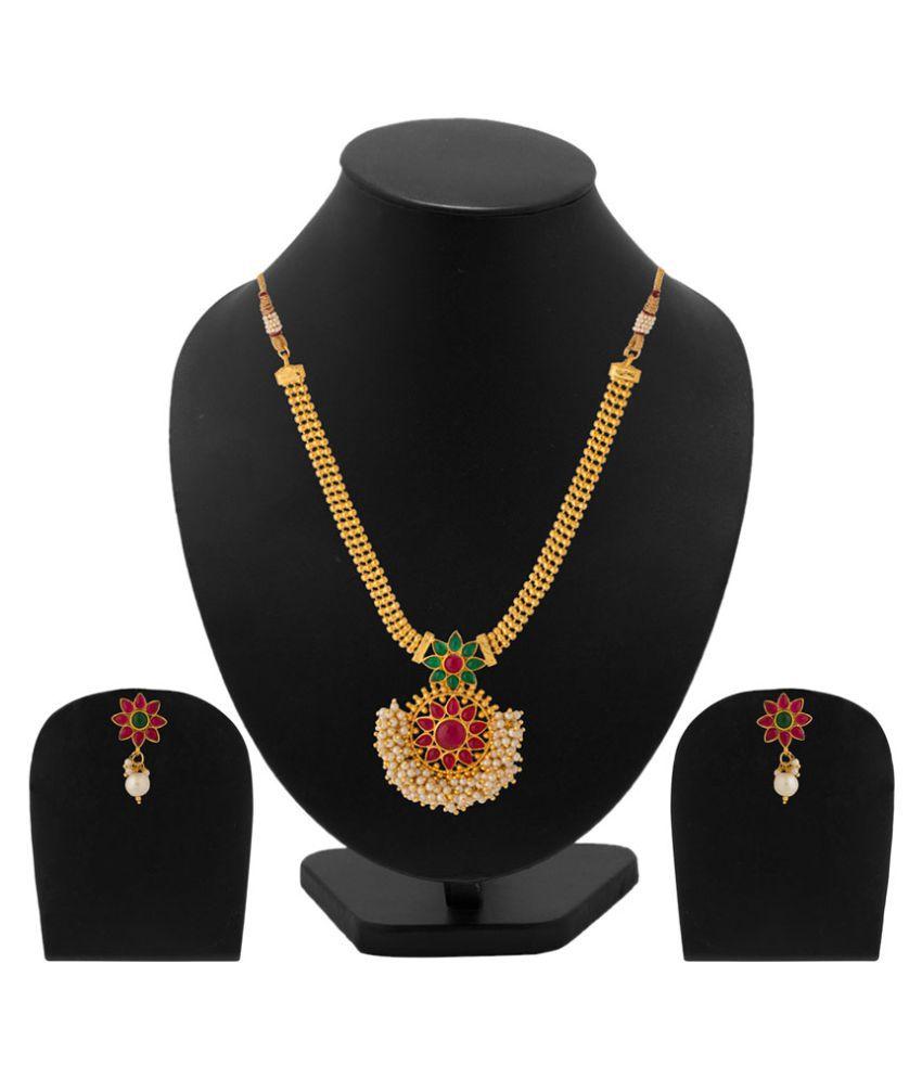 Voylla Alloy Pearl Studded Necklace Set