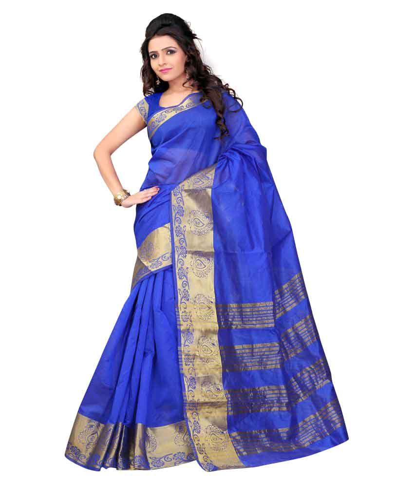 Jay Fashion Blue Art Silk Saree