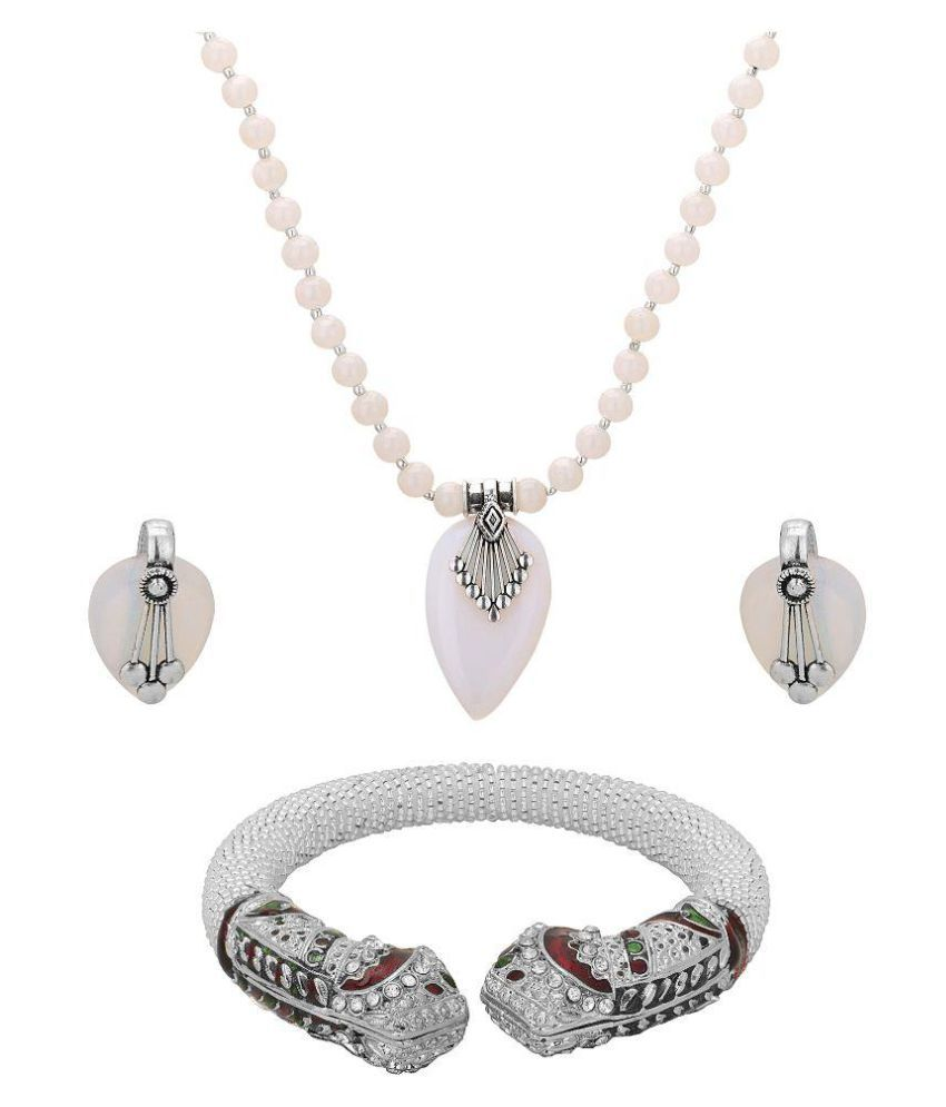 Hashtag White Necklace Set with Kada