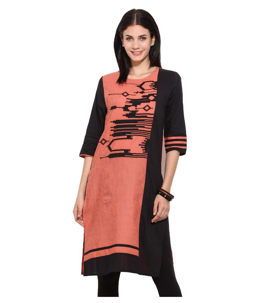 Instacrush Multicoloured Cotton Straight Kurti
