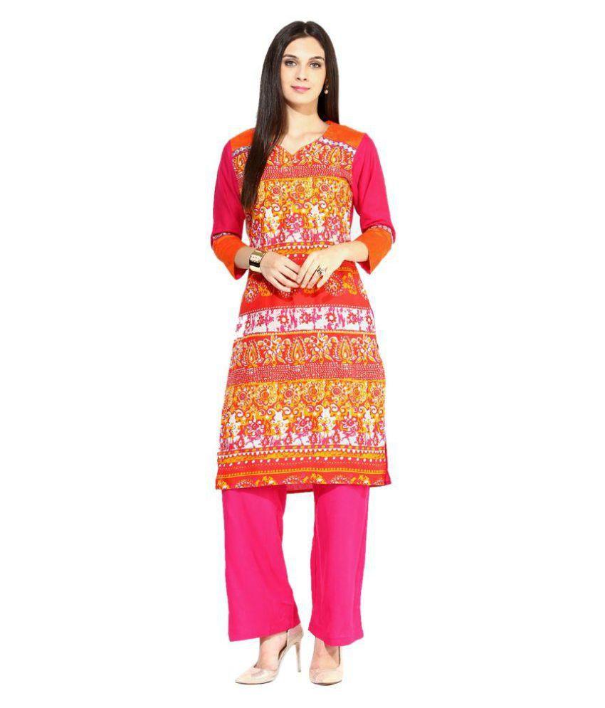 Jaipur Kurti Multicoloured Cotton Straight