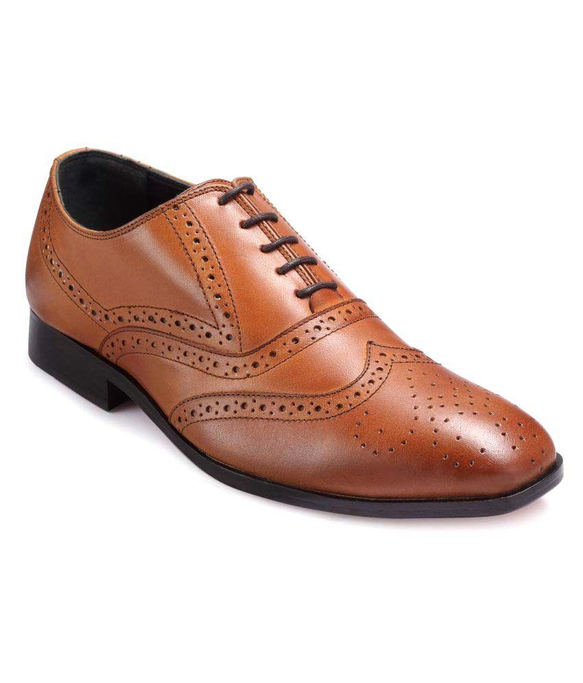 Teakwood Tan Brogue Genuine Leather Formal Shoes ...