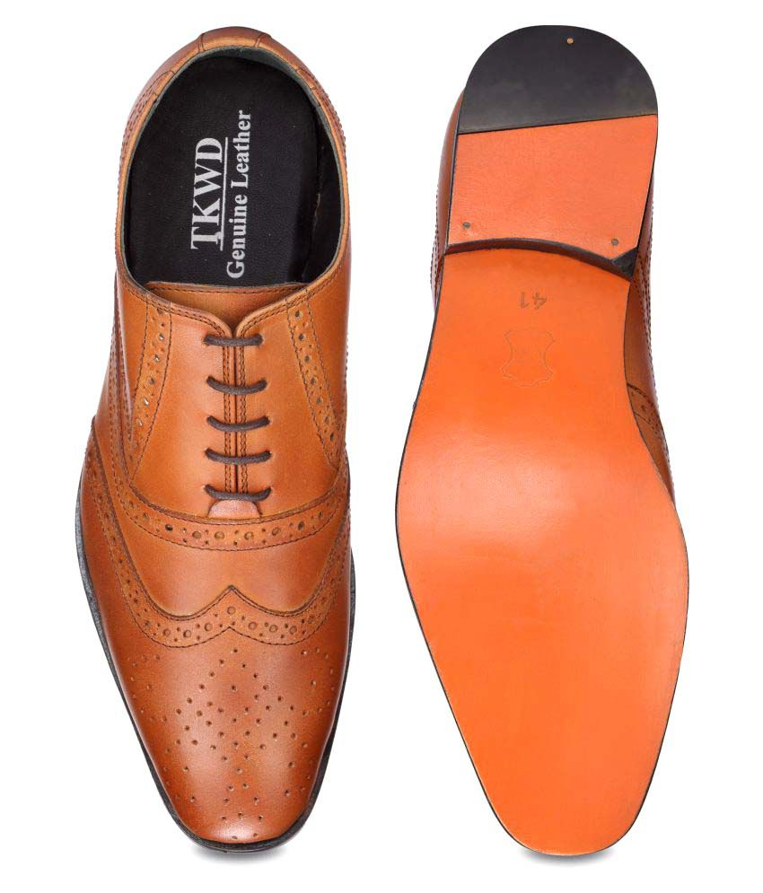 d7fae68318117a Teakwood Tan Brogue Genuine Leather Formal Shoes Price in India- Buy ...