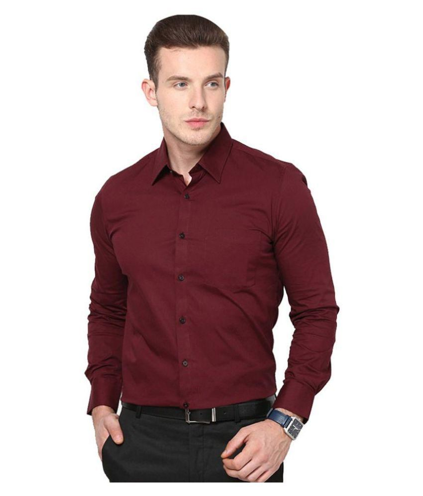 Unique for men maroon formal slim fit shirt buy unique for Men slim fit shirts
