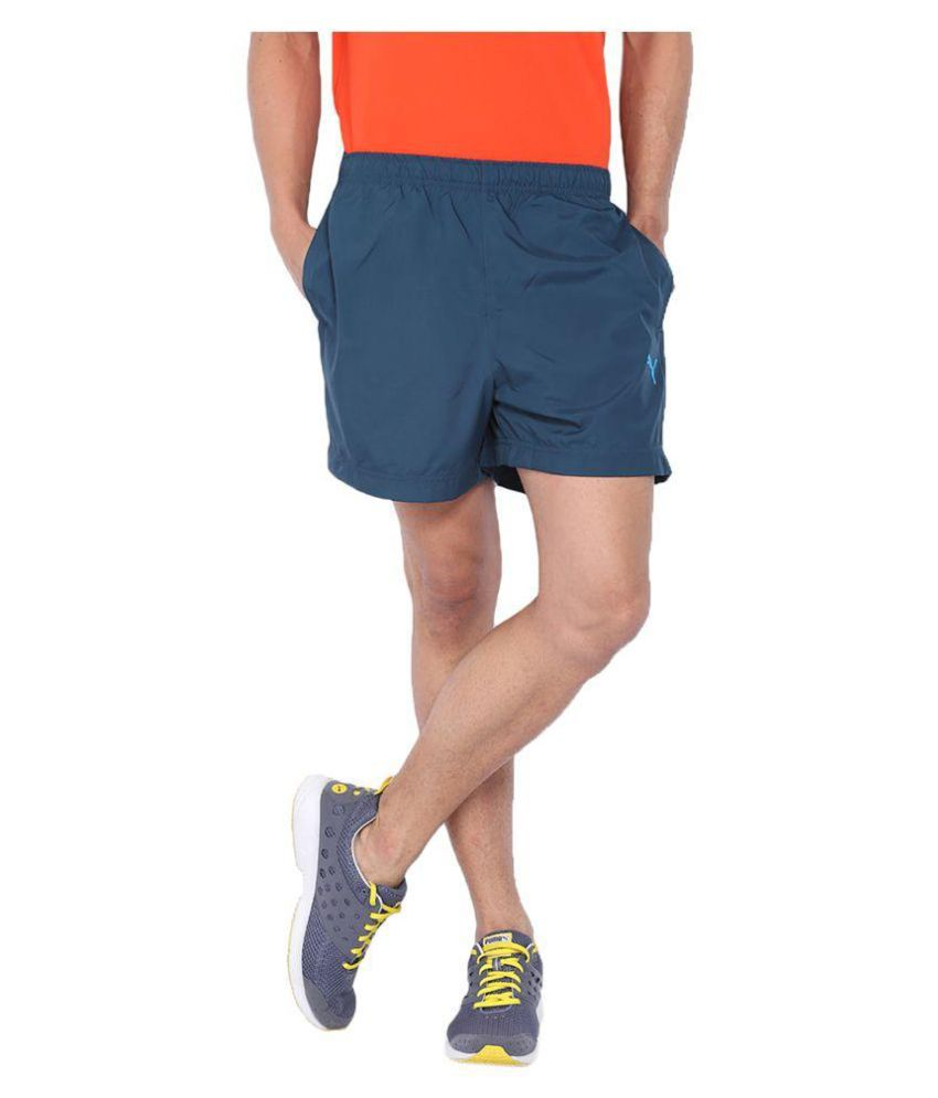Puma Blue Polyester Solids Shorts