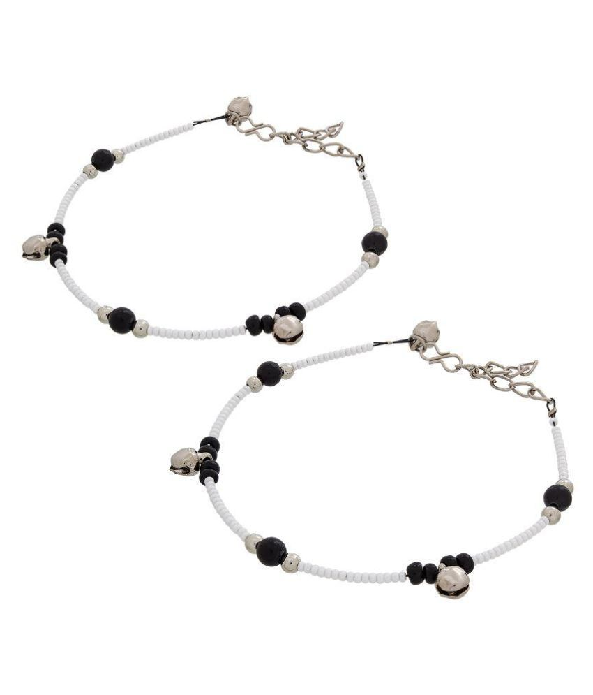 The Luxor White Anklets - Set of 2