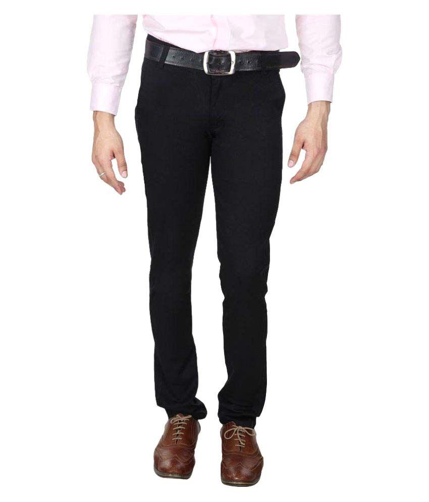 Blackthread Black Slim Flat Trouser