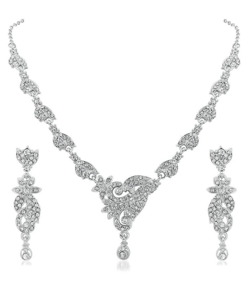 RG Fashions Silver Necklace Set