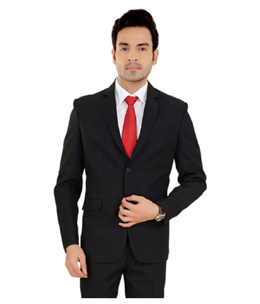Vastra Innovation Black Solid Casual 2 Piece Suits