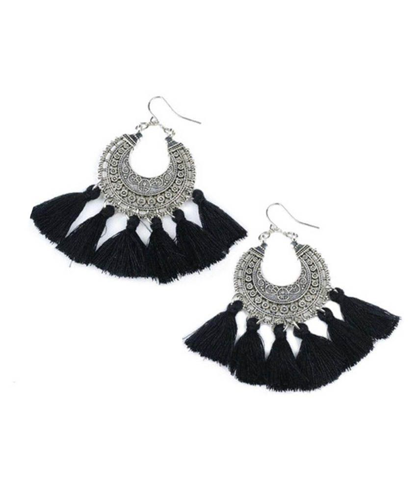 The Red Box Silvert and Black Alloy Chandeliers Earrings
