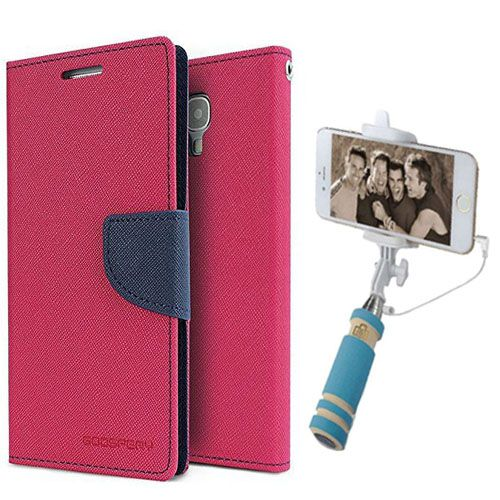 Wallet Flip Case Back Cover For Sony Expria E3-(Pink)+Mini Selfie Stick Compatible for all MobilesBy Style Crome Store