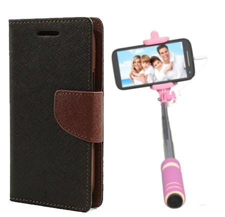 Wallet Flip Case Back Cover For Samsung J2-(Blackbrown)+Mini Selfie Stick Compatible for all MobilesBy Style Crome Store