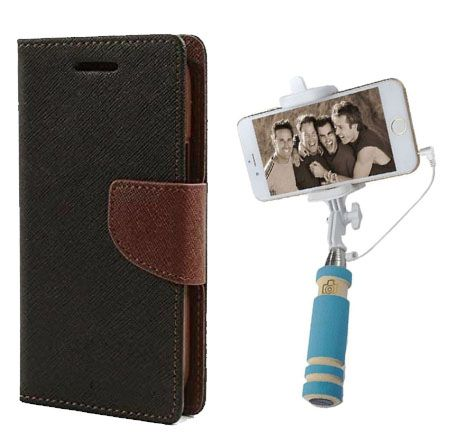 Wallet Flip Case Back Cover For Samsung A3-(Blackbrown)+Mini Selfie Stick Compatible for all MobilesBy Style Crome Store
