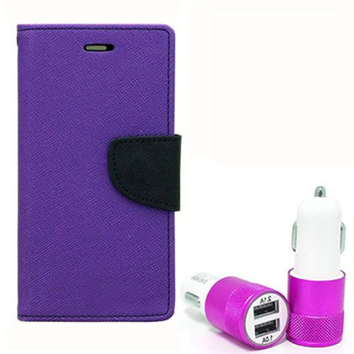 Wallet Flip Case Back Cover For Samsung A3 - (Purple) + Dual ports USB car Charger by Style Crome Store.