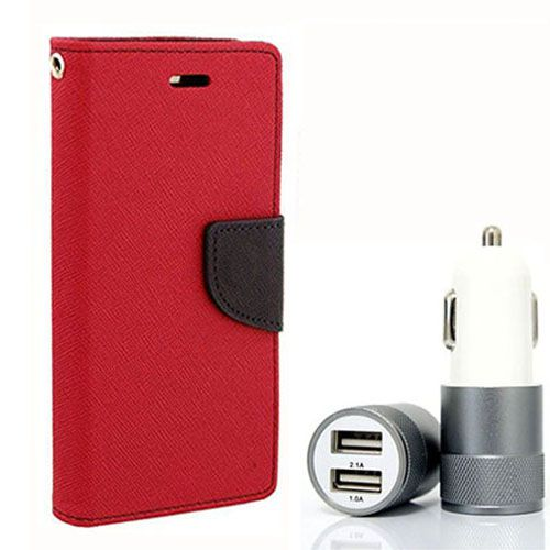 Wallet Flip Case Back Cover For Micromax A117 - (Red) + Dual ports USB car Charger by Style Crome Store.