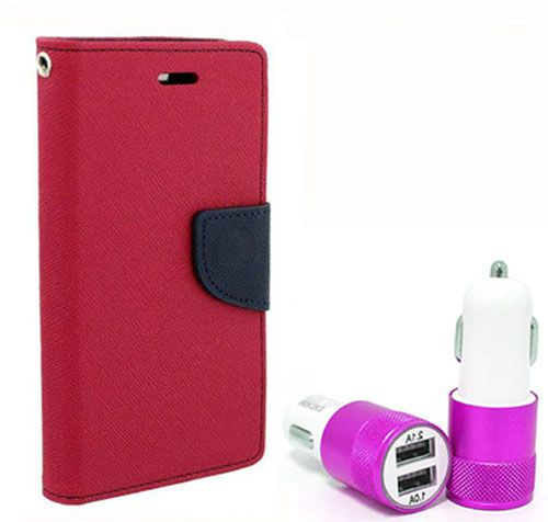Wallet Flip Case Back Cover For Micromax A102 - (Pink) +Dual ports USB car Charger by Style Crome Store.