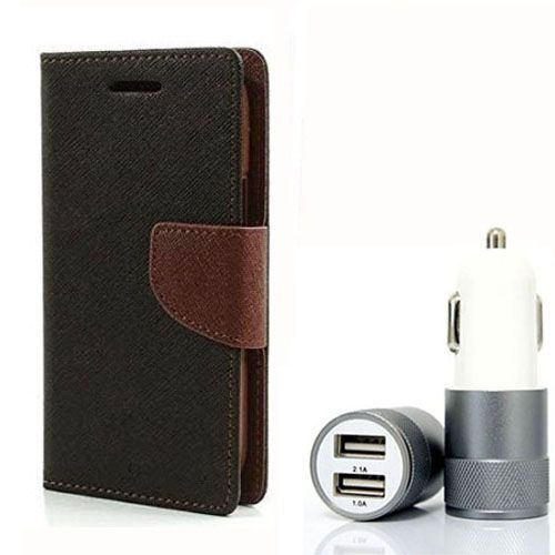 Wallet Flip Case Back Cover For Sony Xpria E3 - (Blackbrown) + Dual ports USB car Charger by Style Crome Store.
