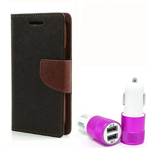 Wallet Flip Case Back Cover For Samsung G850 - (Blackbrown) + Dual ports USB car Charger by Style Crome Store.