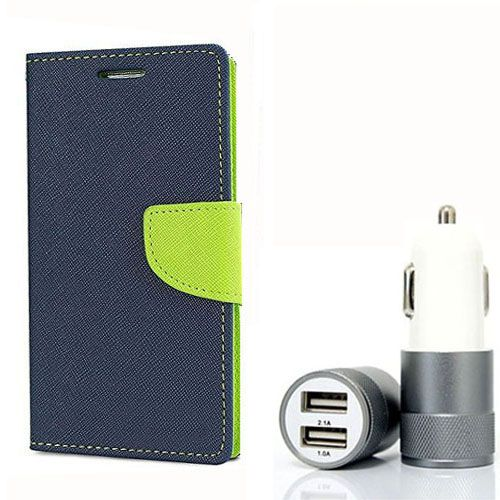 Wallet Flip Case Back Cover For HTC626 - (Blue) + Dual ports USB car Charger by Style Crome Store.