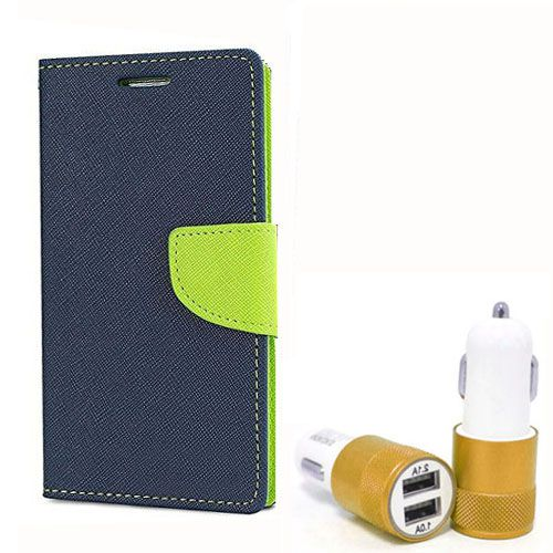 Wallet Flip Case Back Cover For Sony Xpria Z2 - (Blue) + Dual ports USB car Charger by Style Crome Store.