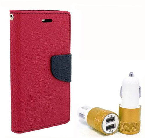 Wallet Flip Case Back Cover For Samsung A3 - (Pink) + Dual ports USB car Charger by Style Crome Store.