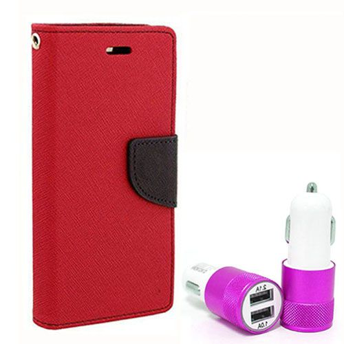 Wallet Flip Case Back Cover For Micromax Q372 - (Red) + Dual ports USB car Charger by Style Crome Store.