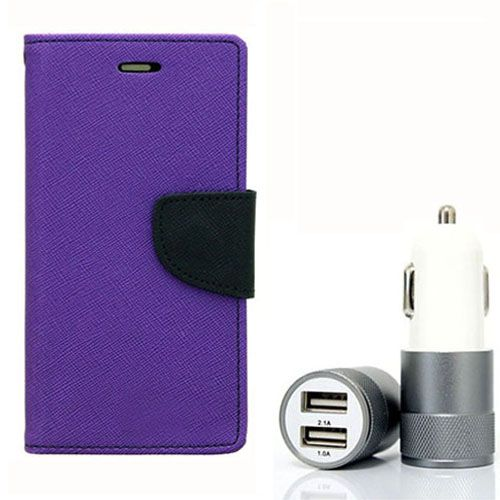Wallet Flip Case Back Cover For Micromax Yureka - (Purple) + Dual ports USB car Charger by Style Crome Store.
