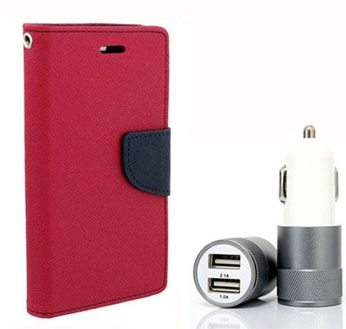 Wallet Flip Case Back Cover For Apple I phone 4 - (Pink) + Dual ports USB car Charger by Style Crome Store.