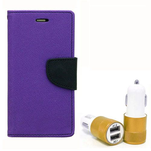 Wallet Flip Case Back Cover For Sony Xpria E3 - (Purple) + Dual ports USB car Charger by Style Crome Store.
