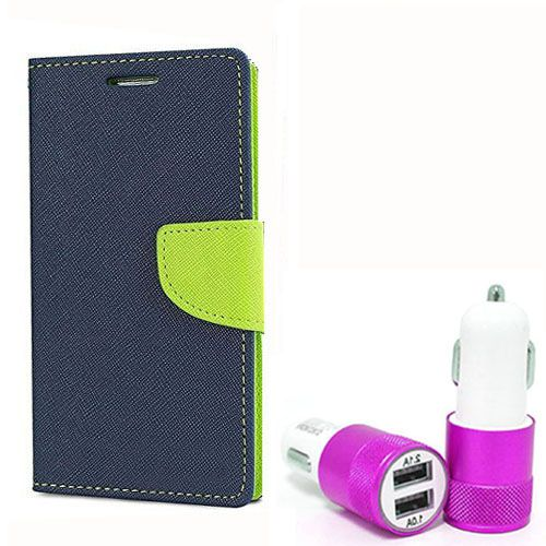 Wallet Flip Case Back Cover For LG g3 - (Blue) +Dual ports USB car Charger by Style Crome Store.
