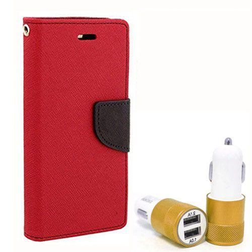 Wallet Flip Case Back Cover For Samsung J5 - (Red) + Dual ports USB car Charger by Style Crome Store.