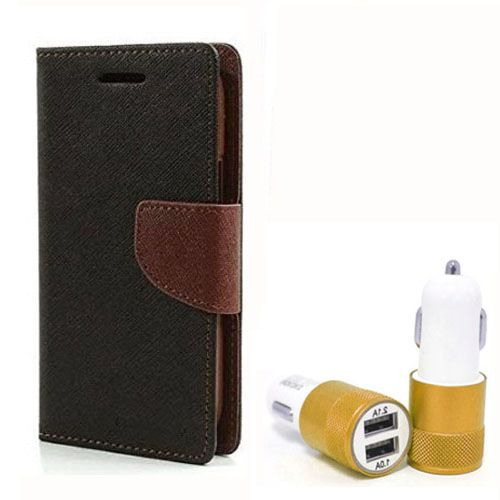 Wallet Flip Case Back Cover For Lenovo K4 note - (Blackbrown) + Dual ports USB car Charger by Style Crome Store.