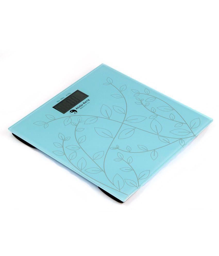 Accu-Rate Glass Digital Weighing Scale (Aqua Blue w Silver Leaf) AR-01