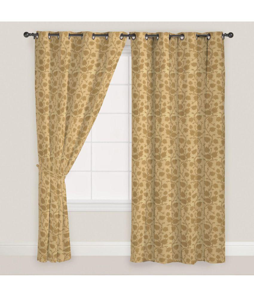 Presto Set of 2 Long Door Eyelet Curtains Floral Gold