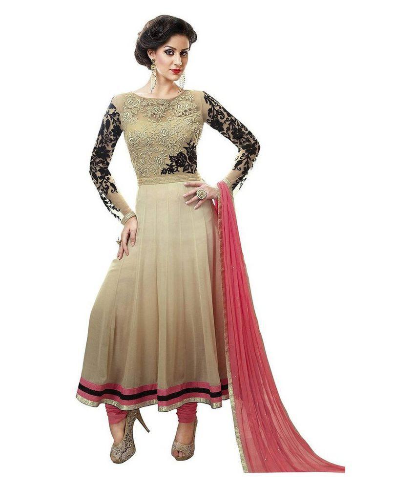 Dipuben Mangukiya Beige Georgette Dress Material