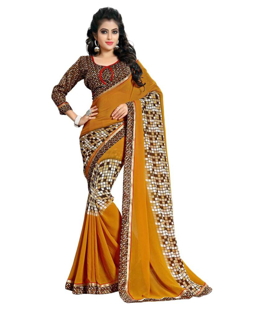Oomph! Yellow Georgette Saree