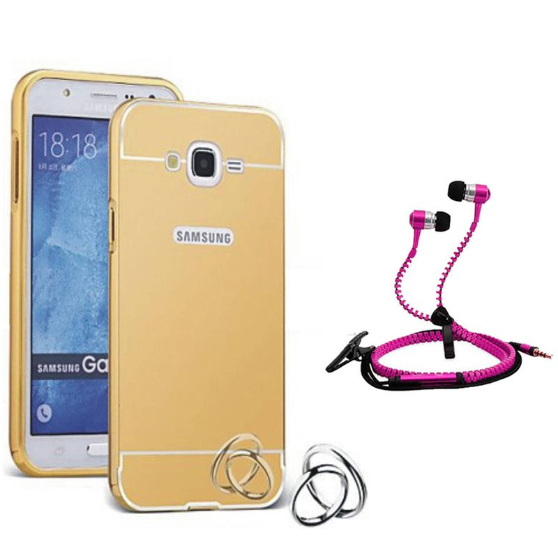 Mirror Back Cover For Samsung Galaxy J1 Ace + Zipper earphone free by Style Crome.