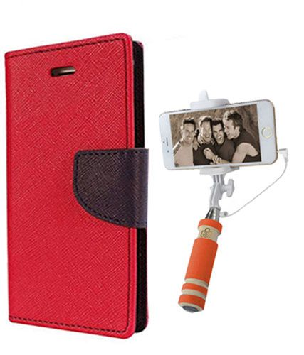 Wallet Flip Case Back Cover For Redmi 1s -(Red)+Mini Selfie Stick Compatible for all MobilesBy Style Crome Store
