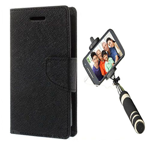 Wallet Flip Case Back Cover For Samsung 9500-(Black)+Mini Selfie Stick Compatible for all MobilesBy Style Crome Store