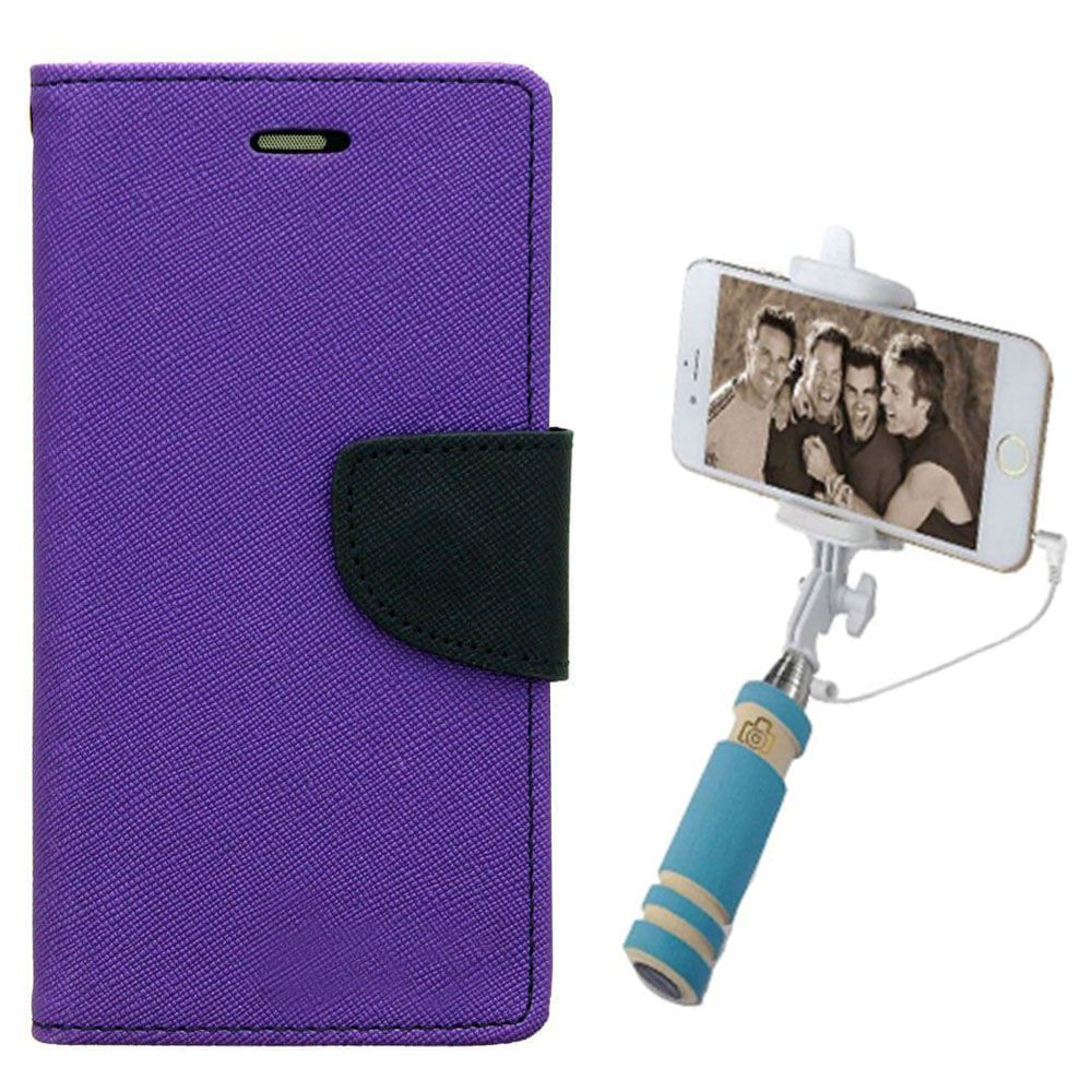 Wallet Flip Case Back Cover For Samsung S6-(Purple)+Mini Selfie Stick Compatible for all MobilesBy Style Crome Store