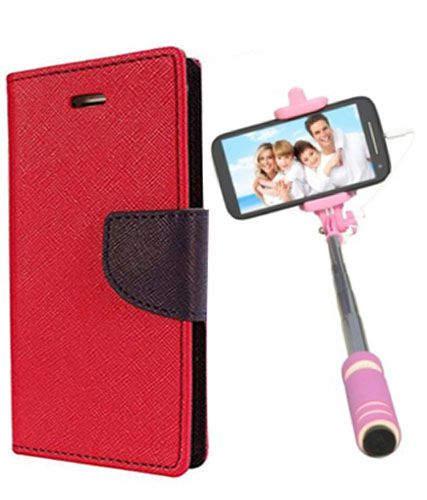 Wallet Flip Case Back Cover For Sony Expria E4 -(Red)+Mini Selfie Stick Compatible for all MobilesBy Style Crome Store