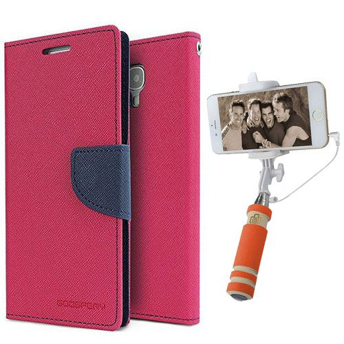 Wallet Flip Case Back Cover For Motorola Moto E2-(Pink)+Mini Selfie Stick Compatible for all MobilesBy Style Crome Store