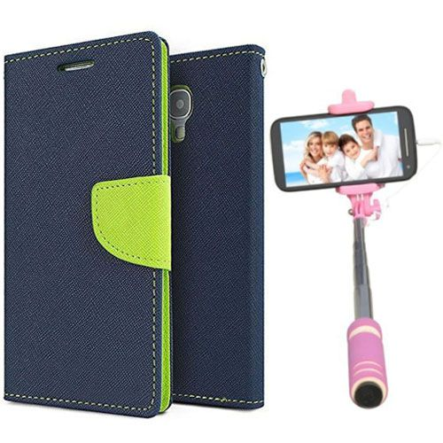 Wallet Flip Case Back Cover For Redmi 1s-(Pink)+Mini Selfie Stick Compatible for all MobilesBy Style Crome Store