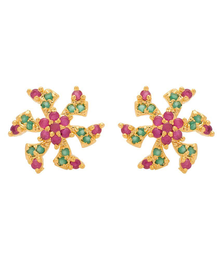 Voylla CZ Multicolour Stud Earrings