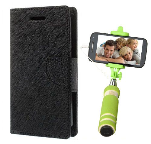 Wallet Flip Case Back Cover For One Plus One -(Black)+Mini Selfie Stick Compatible for all MobilesBy Style Crome Store